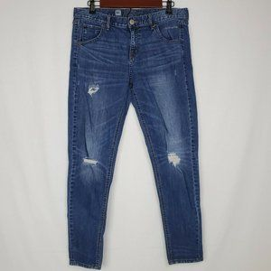 Mossimo Skinny Boyfriend Jeans Mid Rise Distressed